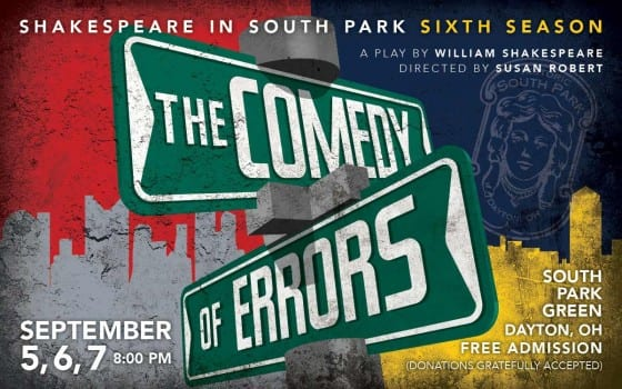 "Poster for Historic South Park in Dayton Ohio's Shakespeare production of ""The Comedy of Errors"""