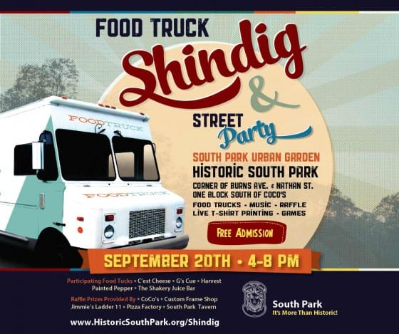 Poster for the Food Truck Shindig in Dayton Ohio's fabulous Historic South Park Neighborhood
