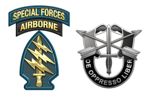 "The patches and crest of the US Army Special Forces- the ""Green Berets"""