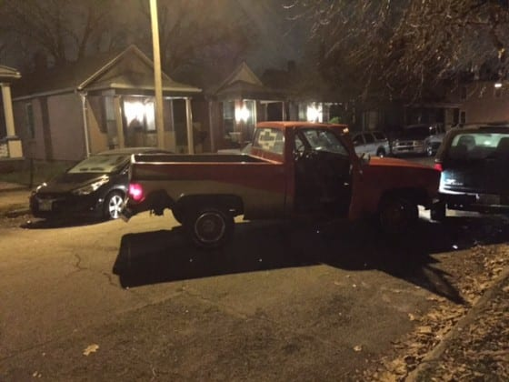 Brandon Crouch's truck after he hit 4 cars and 2 wrought iron fences