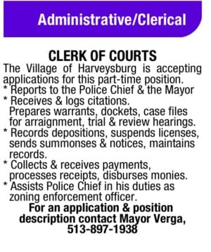 Ad for Harveysburg clerk of courts