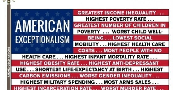 American exceptionalism illustration on an American Flag