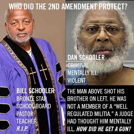 Reverend William Schooler was killed by his mentally ill brother, Daniel Schooler in Dayton Ohio on Feb 18, 2016 with a gun