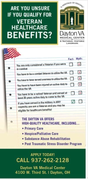 Dayton VA ad promoting access- by pointing out myths of eligibility