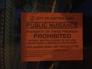 City of Dayton public nuisance sticker