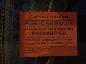 City of Dayton public nuisance sticker