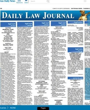 Screen shot of public records notices in Dayton Daily News