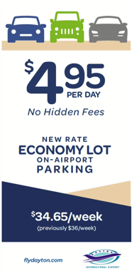 Newspaper ad in Dayton Daily News for Dayton Airport lot economy parking