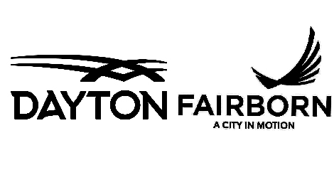 Dayton and Fairborn logos in black and white