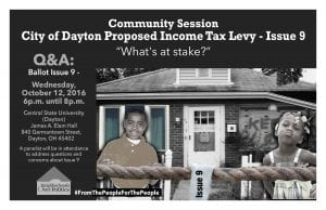 Dayton issue 9 info session flyer by Neighborhoods over Politics