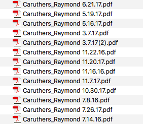 Screen shot of all the travel/expense reports for Ponitz Principal Ray Caruthers