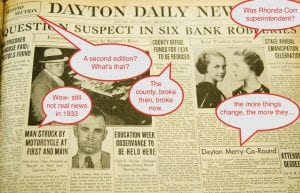 Annotated Dayton Daily news showing bad news was the norm then and now