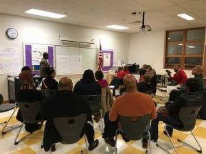Small group breakout session of NAACP community meeting on Dayton Public School closings