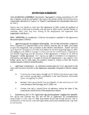 thumbnail of Separation Agreement – R. Corr – Partial Exec – 1.26.18