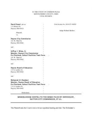 thumbnail of Memorandum Contra