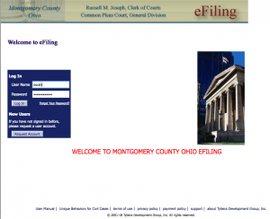 Screen shot of the Montgomery County Ohio lame court efiling website portal