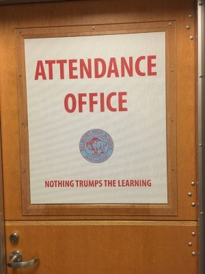 "Nothing Trumps the Learning"" sign at Belmont High School in Dayton Ohio, where a large proportion of the students are immigrants"
