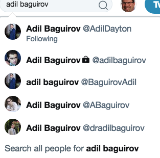 Adil Baguirov's 5 twitter accounts