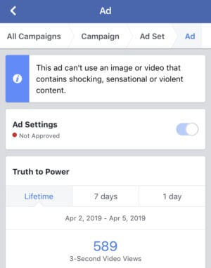Message from Facebook banning ad for political speech