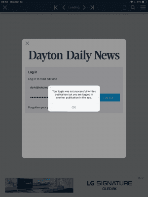#FAIL login to the Dayton Daily News epaper