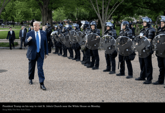 Trump and his blackshirted police escort to church