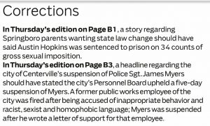 Dayton Daily News corrections about story about termination of Sgt. James Myers