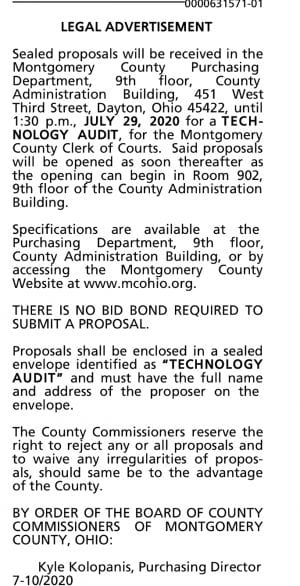 Ad for tech audit by the Montgomery County Clerk of Courts