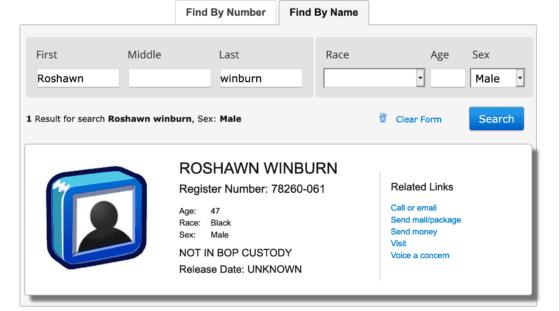 Roshawn Winburn not in Custody